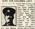 Newspaper Clipping – Pte. Joseph Davis enlisted in Toronto in the 134th Overseas Battalion C.E.F. (48th Highlanders) in January 1916.  In honoured memory.
