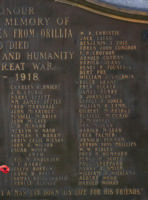 Cenotaph – Private Joseph Henry Borrow is also commemorated on the WWI cenotaph in Orillia, ON … photo courtesy of Marg Liessens