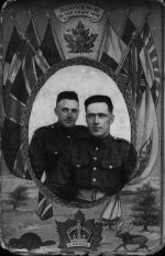 Photo of DUNCAN EARL CAMPBELL – Duncan 'Earl' & his brother John Ritchie Campbell on WWI souvenir postcard c.1916