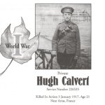 Memorial Page – Hugh Calvert is honoured on page 61 and 62 of the Gananoque Remembers booklet, published on January 31, 2005.