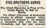 Newspaper Clipping – Pte. Albert Cleverdon's brother, Pte. Ernest Norton Cleverdon, died in early 1919.  In honoured memory of the Cleverdon brothers.