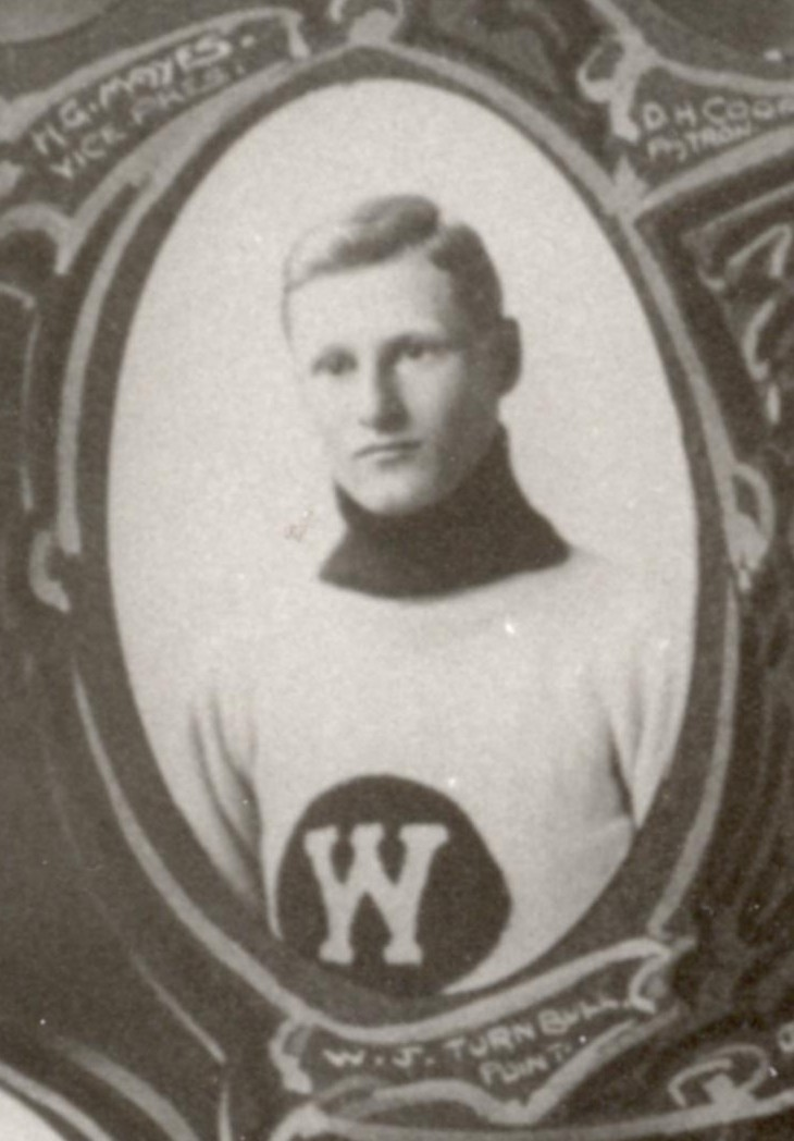 Photo of Walter James Turnbull – Winnipeg Hockey Club 1913 Amateur Champions, W. J. Ollie Turnbull, Point. Detail of team montage photo from the collection of the Manitoba Sports Hall of Fame & Museum. [Obtained via email from the Museum's Executive Director Rick Brownlee in October 2007.]