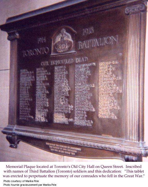 Toronto Battalion Memorial Plaque
