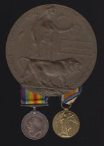 Medals – Death Plaque, British War Medal, and Victory Medal to #1033147 Pte Caleb Goodwin, killed during the Canadians third major offensive of Canada's 100 Days (ribbons are reversed on the medals but that is how they were obtained). KIA near Raillencourt.
