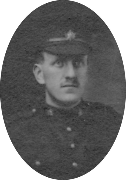 Photo of JACK CRICHTON – From a collage photo layout of members of A Company and the bugle band of the 157th Canadian Infantry Battalion.