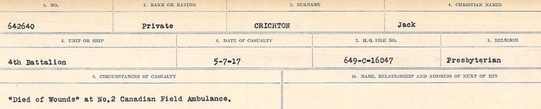 Circumstances of death registers – Source: Library and Archives Canada. CIRCUMSTANCES OF DEATH REGISTERS, FIRST WORLD WAR Surnames: CRABB TO CROSSLAND Microform Sequence 24; Volume Number 31829_B016733. Reference RG150, 1992-93/314, 168. Page 511 of 788.