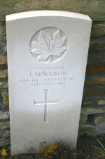 Grave Marker – A photograph of the headstone at the Petit-Vimy Cemetery, near Vimy Ridge and the town of Vimy, France. May he rest in peace.(J.Stephens)