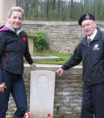 Group photo – Three generations - Frank Morrison and his granddaughter, Kristen Smith, visited Le Petit Vimy cemetery to pay their respects to their relative, James (Jimmy) Morrison, 95 years after the Battle at Vimy Ridge.