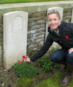 Paying Respects – Kristen Smith, visits the grave of her great-great uncle, Jimmy Morrison, during a pilgrimmage to commemorate the 95th anniversary of the Battle at Vimy Ridge