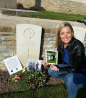 Paying respects – Visiting my great great uncle for the second time. At his grave, I left a military photo of him that was taken before the war, a photo of my grandfather visiting his grave, and a poppy cross.
