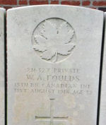 Grave Marker – Photo by BGen G Young 15th Battalion Memorial Project Team Nov 2009