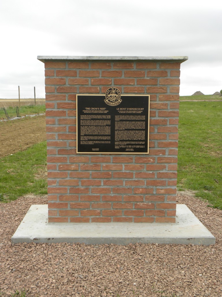 Memorial – Memorial at the Crow's Nest honouring actions 31 Aug - 2 Sep 1918.  Submitted by 15th Bn Memorial Project Team.  DILEAS GU BRATH