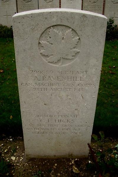 Grave Marker – Grave marker - Sun Quarry Cemetery … photo courtesy of Marg Liessens