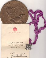 Silver Cross – Uncle George's Silver Cross and Medal sent to his Parent's from King George.