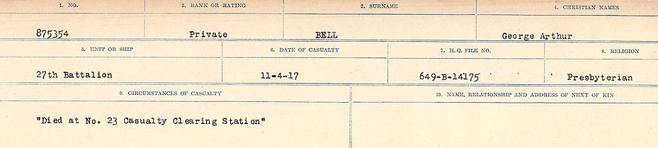 Circumstances of Death Registers – Source: Library and Archives Canada.  CIRCUMSTANCES OF DEATH REGISTERS FIRST WORLD WAR Surnames: Bernard to Binyan. Mircoform Sequence 8; Volume Number 31829_B016718; Reference RG150, 1992-93/314, 152 Page 73 of 670