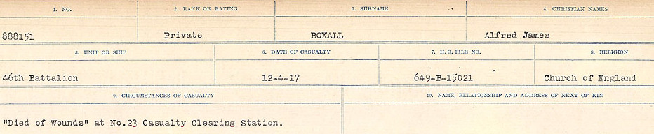 Circumstances of Death Registers – Source: Library and Archives Canada.  CIRCUMSTANCES OF DEATH REGISTERS FIRST WORLD WAR Surnames: Border to Boys. Mircoform Sequence 12; Volume Number 131829_B016721; Reference RG150, 1992-93/314, 156 Page 723 of 934