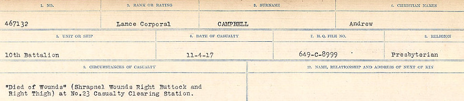 Circumstances of Death Registers – Source: Library and Archives Canada.  CIRCUMSTANCES OF DEATH REGISTERS, FIRST WORLD WAR Surnames:  Cabana to Campling. Microform Sequence 17; Volume Number 31829_B016726. Reference RG150, 1992-93/314, 161.  Page 557 of 1024.