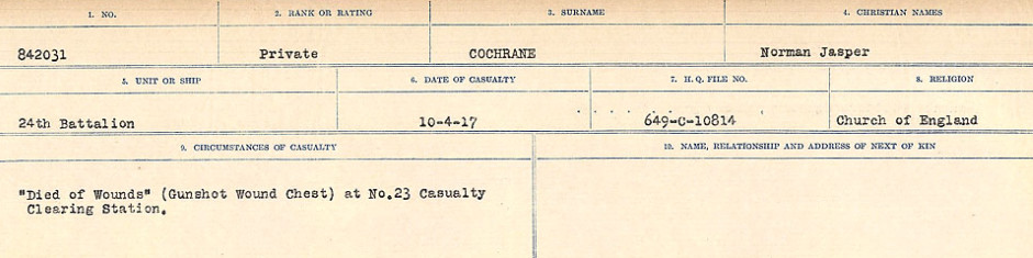Circumstances of Death Registers – Source: Library and Archives Canada.  CIRCUMSTANCES OF DEATH REGISTERS, FIRST WORLD WAR Surnames:  CLEAL TO CONNOLLY.  Microform Sequence 21; Volume Number 31829_B016730. Reference RG150, 1992-93/314, 165.  Page 441 of 1384.