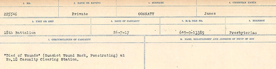 Circumstances of Death Registers – Source: Library and Archives Canada.  CIRCUMSTANCES OF DEATH REGISTERS, FIRST WORLD WAR Surnames:  CLEAL TO CONNOLLY.  Microform Sequence 21; Volume Number 31829_B016730. Reference RG150, 1992-93/314, 165.  Page 1287 of 1384.