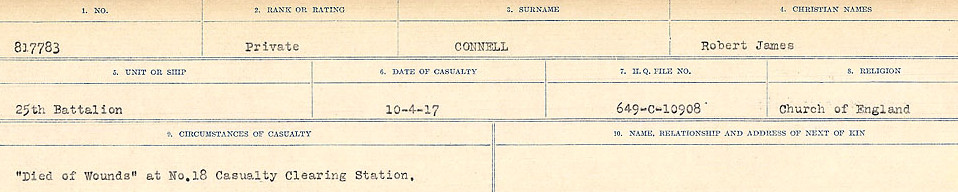 Circumstances of Death Registers – Source: Library and Archives Canada.  CIRCUMSTANCES OF DEATH REGISTERS, FIRST WORLD WAR Surnames:  CLEAL TO CONNOLLY.  Microform Sequence 21; Volume Number 31829_B016730. Reference RG150, 1992-93/314, 165.  Page 1301 of 1384.