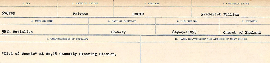 Circumstances of Death Registers – Source: Library and Archives Canada.  CIRCUMSTANCES OF DEATH REGISTERS, FIRST WORLD WAR Surnames:  CONNON TO CORBETT.  Microform Sequence 22; Volume Number 31829_B016731. Reference RG150, 1992-93/314, 166.  Page 371 of 818.
