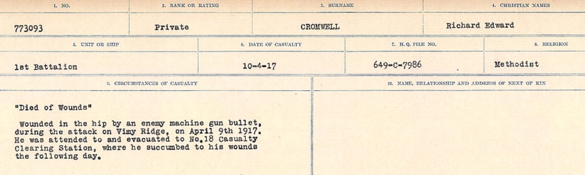 Circumstances of death registers – Source: Library and Archives Canada. CIRCUMSTANCES OF DEATH REGISTERS, FIRST WORLD WAR Surnames: CRABB TO CROSSLAND Microform Sequence 24; Volume Number 31829_B016733. Reference RG150, 1992-93/314, 168. Page 653 of 788.