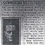 Newspaper Clipping – Pte. George Cruickshank is mentioned in this article about his brother, Pte. James H. Cruickshank.   Article dated March 27th, 1918, Toronto Evening Telegram.