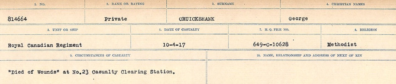Circumstances of death registers – Source: Library and Archives Canada. CIRCUMSTANCES OF DEATH REGISTERS, FIRST WORLD WAR Surnames: Crossley to Cyrs. Microform Sequence 25; Volume Number 31829_B016734. Reference RG150, 1992-93/314, 169. Page 207 of 890.