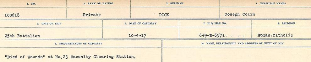 Circumstances of death registers – Source: Library and Archives Canada. CIRCUMSTANCES OF DEATH REGISTERS, FIRST WORLD WAR. Surnames: Deuel to Domoney. Microform Sequence 28; Volume Number 31829_B016737. Reference RG150, 1992-93/314, 172. Page 253 of 1084.
