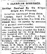 Newspaper Clipping – From the Toronto Star for 3 April 1916.
