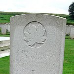 Gravestone – R. R. Morris's gravestone, Lapugnoy Military Cemetery, Pas-de-Calais, France.  Photo taken in 2002.