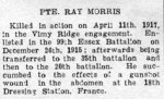Obituary – Newspaper notice of Private Morris' death.