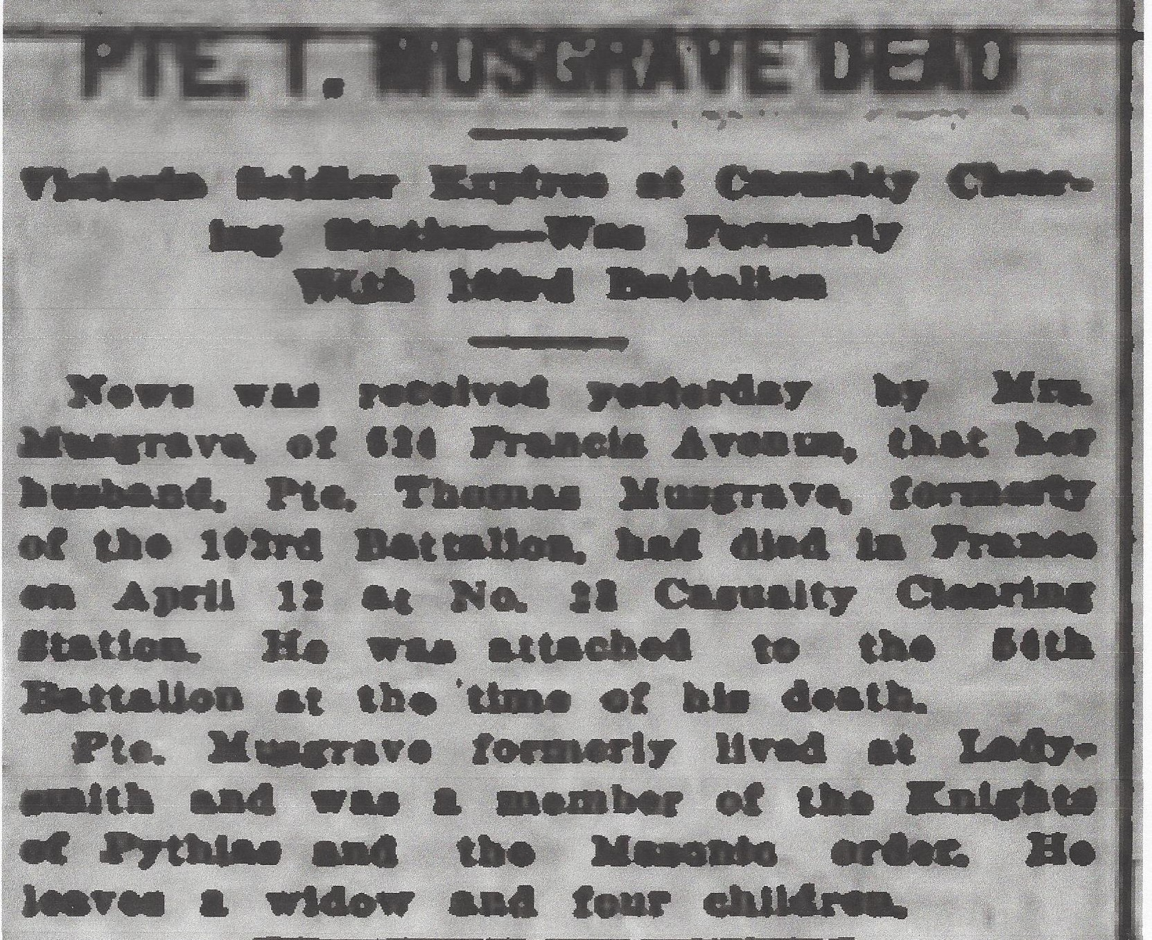 Newspaper clipping – From the Daily Colonist of April 29, 1917. Image taken from web address of http://archive.org/stream/dailycolonist59y121uvic#page/n0/mode/1up