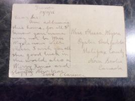 Post Card – Postcard from Clarence to his sister, Plessa Myers.