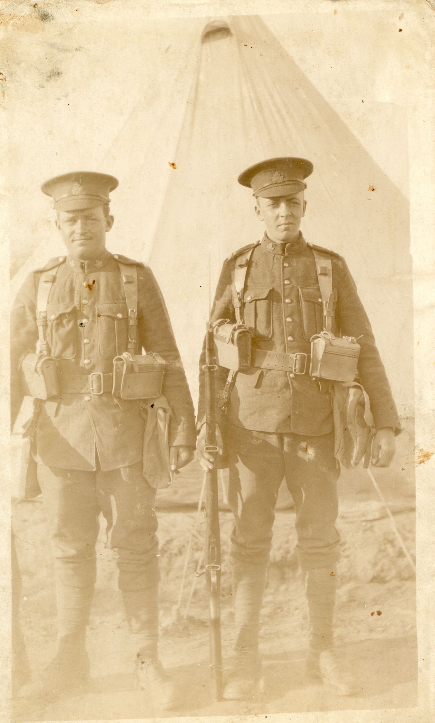 Photo of Patrick Smith – Patrick Lorne Smith of Campbellton NB is on the RIGHT in this photo.  He died of wounds sustained at Battle of Vimy Ridge.