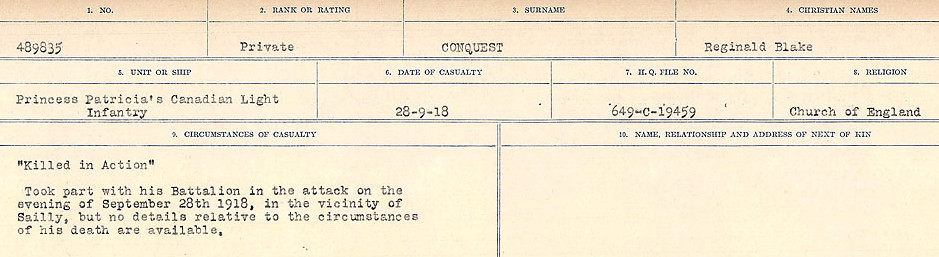 Circumstances of Death Registers – Source: Library and Archives Canada.  CIRCUMSTANCES OF DEATH REGISTERS, FIRST WORLD WAR Surnames:  CONNON TO CORBETT.  Microform Sequence 22; Volume Number 31829_B016731. Reference RG150, 1992-93/314, 166.  Page 51 of 818.