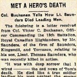 Press Clipping – The letter was written by Lieutenant Colonel Victor Carl Buchanan. It relates to the death of Lieutenant Thomas Brehaut Saunders, 13th Battalion, who was killed in action on the Ypres Salient (Belgium) on June 13th, 1916.