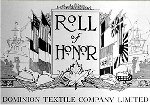 Honour Roll – Honour Roll, Dominion Textile Company Ltd.  Sgt. Franklin's name appears as a member of their staff at Magog, Quebec. Source:  The Standard / Canada's Aid to the Allies and Peace Memorial.  Edited by Frederick Yorston. Published by the Montreal Standard Publishing Co., Ltd., Montreal.  This large Souvenir Edition magazine included the Rolls of Honour for various prominent Canadian businesses.