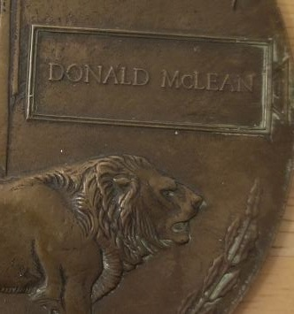 """Photo of DONALD MCLEAN – """"Death Penny"""" issued to his family."""