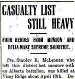 Newspaper Clipping – From the Munson Mail for 3 May 1917.