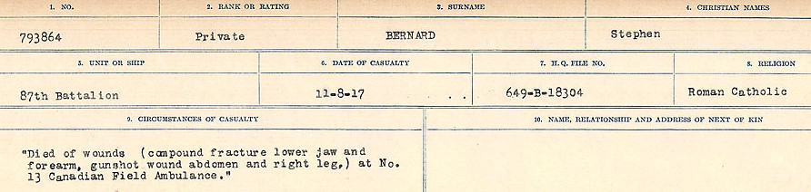 Circumstances of Death Registers – Source: Library and Archives Canada.  CIRCUMSTANCES OF DEATH REGISTERS FIRST WORLD WAR Surnames: Bernard to Binyon. Mircoform Sequence 9; Volume Number 31829_B016719; Reference RG150, 1992-93/314, 153 Page 27 of 652