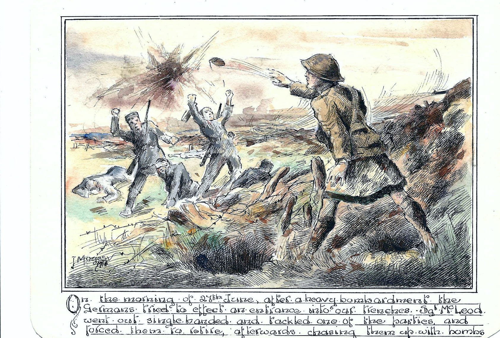 Sketch – From an orginal sketch by the artist J.Moyes depicting the action for which he received the Distinguished Conduct Medal
