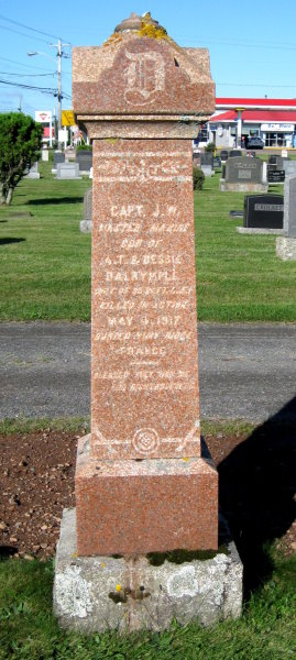 "Memorial – James Whitney Dalrymple shares a memorial stone with his parents in Robie Street Cemetery in Truro, Colchester, Nova Scotia. The memorial has him titled as a ""Captain"" which must refer to his rank as a master mariner in civilian life."