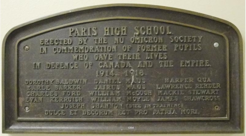 Memorial – Paris District High School First World War Memorial Plaque Paris Ontario