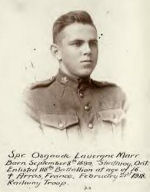 Photo of Laverne Osgoode Marr – Spr. Osgoode Lavergne Marr. Born September 8th 1899, Strathroy, Ont. Enlisted 118th Battallion [sic]at the age of 16. [Symbol of cross] Arras, France, February 21st 1918. Railway Troop. Sapper Osgoode Lavergne Marr was born on 8 September 1899 in Strathroy, Ontario and later moved to Berlin. He enlisted in the 118th Battalion at the age of 16. Sapper Marr died in action at Arras, France on 21 February 1918, while serving with the railway troop.