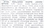 Newspaper Clipping – News article from the Calgary Herald dated 26 August 1918 advising of the death of Pte Roland Hope Johnston.