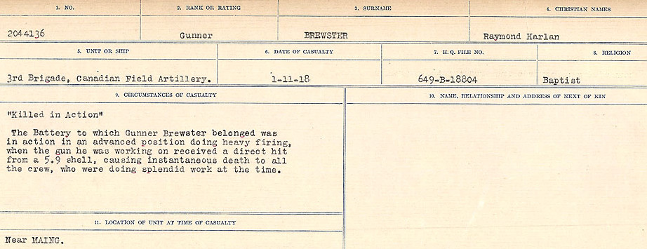 Death notice – Source: Library and Archives Canada.  CIRCUMSTANCES OF DEATH REGISTERS FIRST WORLD WAR Surnames: Brabant to Britton. Mircoform Sequence 13; Volume Number 131829_B016722; Reference RG150, 1992-93/314, 157 Page 603 of 906