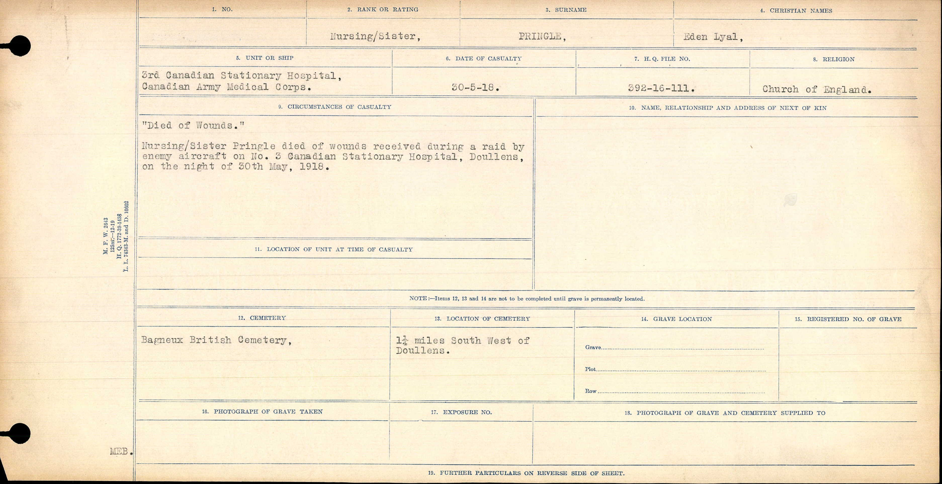 Circumstances of Death Registers – Circumstances of Casualty
