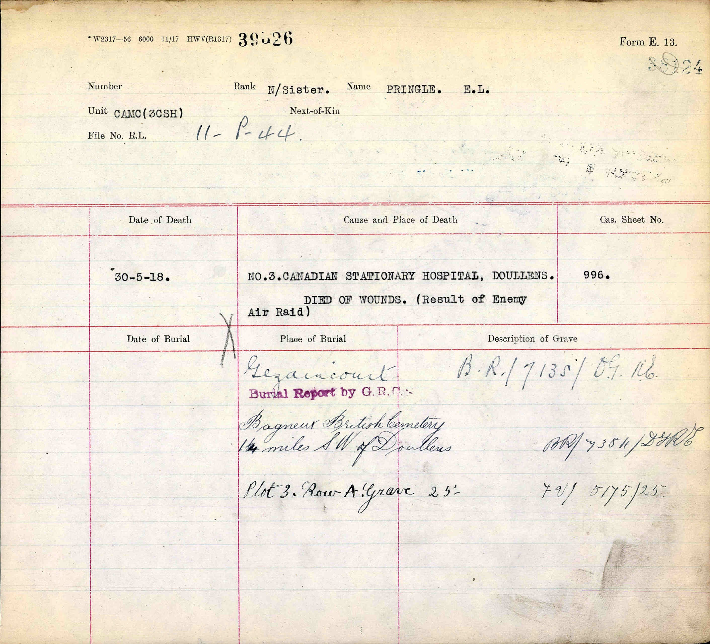 War Graves Document – War Graves front page