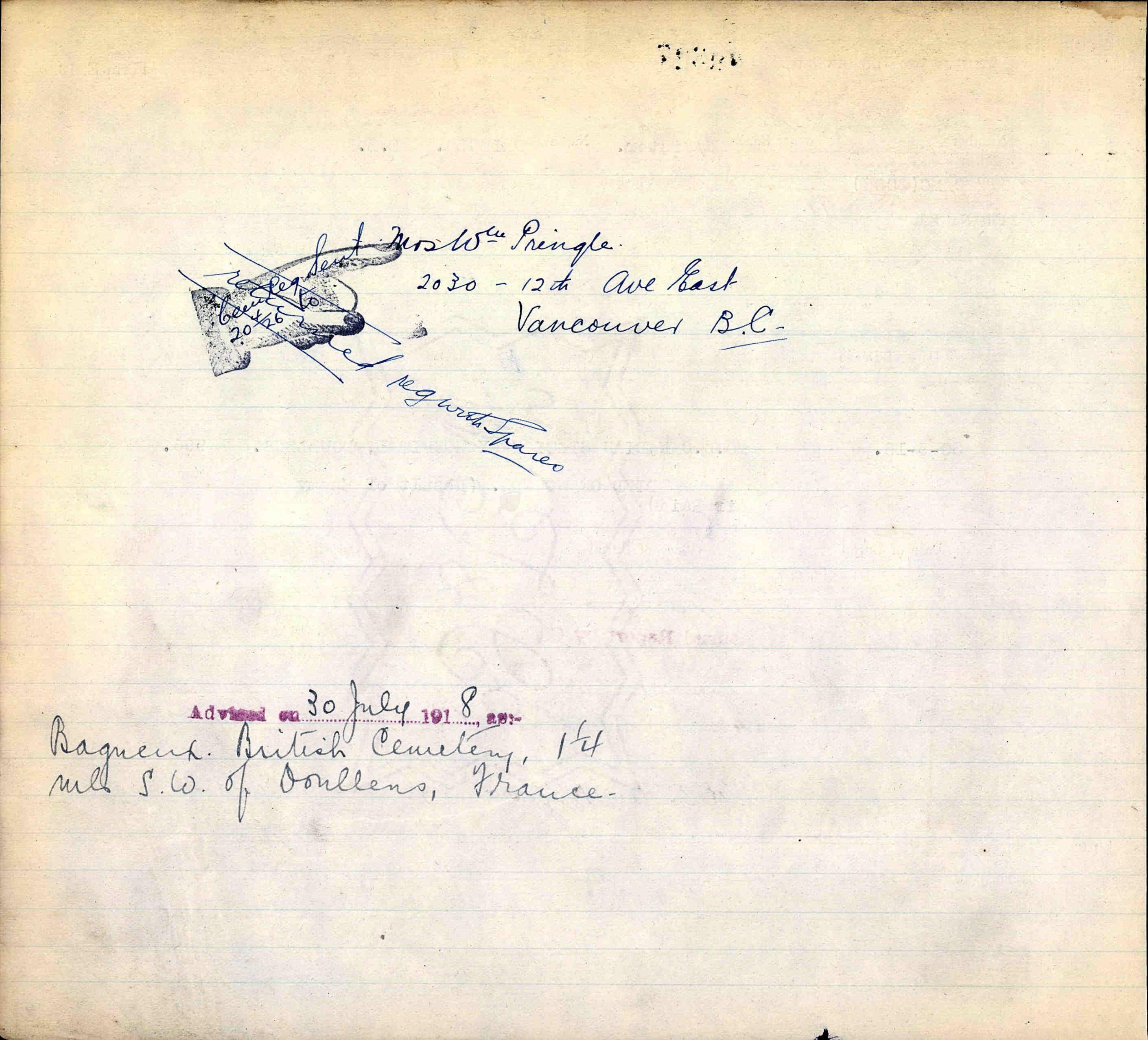 Document – War Graves - back